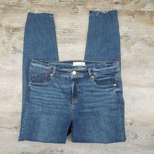 LOFT High Rise Modern Skinny Jeans Raw Hem